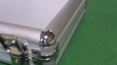 Suitcase with standart set of casino chips Stock Footage