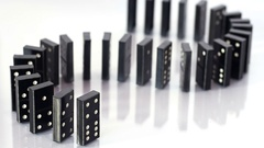 Falling dominoes in S letter shape Stock Footage