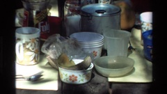 1980: people eating on a camping trip in the woods BIG SUR CALIFORNIA Stock Footage