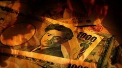 Japanese Yen Banknotes Rotating In Fire Stock Footage