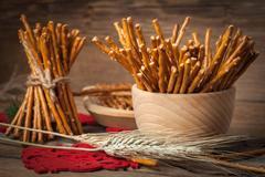 Salty pretzel sticks. Stock Photos