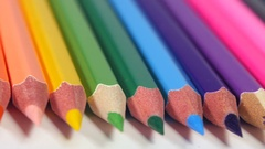 Sharp ends of colorful pencils Stock Footage