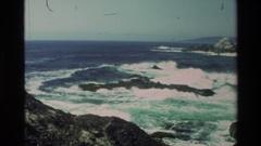 1982: ocean waves hitting against the rocks CARMEL CALIFORNIA Stock Footage