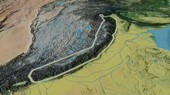 Revolution around Himalayas mountain range - glowed. Topographic map Stock Footage
