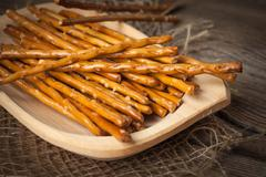 Salty pretzel sticks. Stock Photos