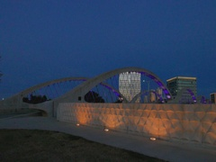 Night View of 7th Street Bridge in Fort Worth Texas Stock Footage