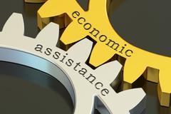 Economic Assistance concept on the gearwheels, 3D rendering Stock Illustration