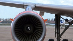 EasyJet Airplane Jet Engine View Push Back Departure Stock Footage