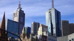 Melbourne, Building Skyline, Southbank Stock Footage
