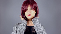 Fashion Model With New Hairstyle or Red Hair Color Stock Footage