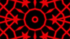 Red Neon Glow Lines Pattern Kaleidoscope Abstract VJ Motion Background Loop Stock Footage