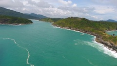 Top View of Rocks and Promthep cape in Phuket Stock Footage