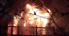 Blazing house fire. Stock Footage
