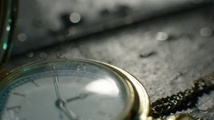 Setting Classic Pocket Watch Ticking in Slow Motion. Macro shot Stock Footage
