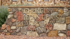 Stone LDS church sign Stock Footage