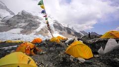 Everest base camp, a tent village established on Khumbu Icefall. Himalaya, Nepal Stock Footage