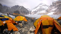 View of tents established on Khumbu Icefall. Everest base camp. Himalaya Stock Footage