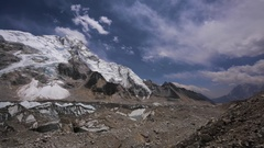 View of Everest, Nuptse and Lhotse mountains near Everest base camp. Himalaya Stock Footage