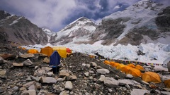 Tent village established for tourists' convenience, Everest Base Camp, Himalaya Stock Footage