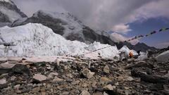 Greatest mountains in Everest base camp on Khumbu Icefall. Himalaya, Nepal Stock Footage