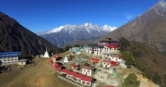 Aerial view of nepalese Tengboche Monastery.Himalaya mountains are on background Stock Footage