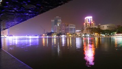 Skyline of Kaohsiung at love river at night, time lapse Stock Footage