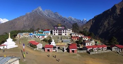 Aerial view of nepalese Tengboche Monastery. Kongde Ri mountain on background Stock Footage