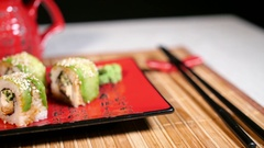 Sushi Composition On Plate With Ginger And Sticks Stock Footage