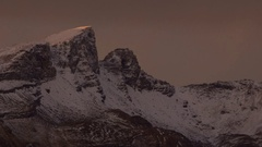 Arctic warming - sunlight makes mountain peak glow, time lapse Stock Footage