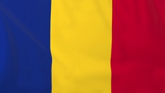 Flag of Romania waving in the wind, seemless loop animation Stock Footage