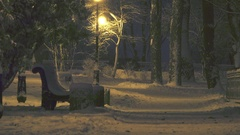 Bench standing under a street lamp in the winter night park Stock Footage