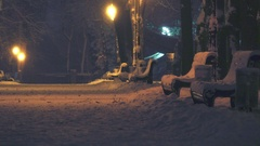 Benches stands under the lights in the alley of the park in the winter night Stock Footage