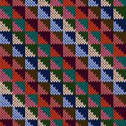 Seamless knitted motley multicolour geometric pattern Stock Illustration