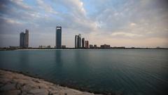 Beginning of the sunset in Abu Dhabi. Panning shot. Stock Footage