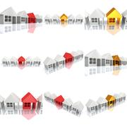Row of houses with reflection. 3d render. Stock Illustration
