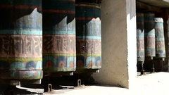 Tibetan Buddhist prayer wheels seamless looping Stock Footage