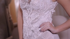 Beautiful brunette girl in the image of the Arab bride in a wedding dress and a Stock Footage