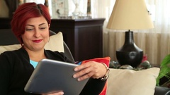 Woman receiving good news Stock Footage
