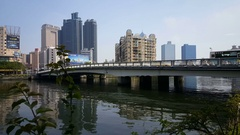 Skyline and bridge at love river Stock Footage