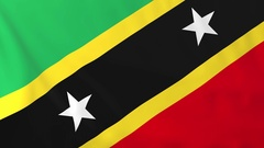 Flag of Saint Kitts waving in the wind, seemless loop animation Stock Footage