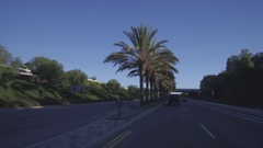 Driving Down A Palm Tree Lined Street And Going Under A Bridge In California Stock Footage