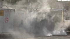 Toxic gases come out of firefighters training rooms for hazardous materials Akko Stock Footage