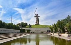 Square of Heroes. Memorial complex Mamayev Kurgan in Volgograd Stock Photos
