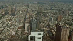 Skyline from above Tuntex skytower, 85 buidling Stock Footage