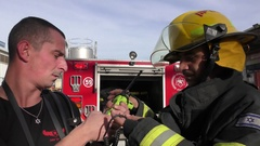 Firefighters testing communications. Akko – Israel Stock Footage