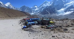 Zooming in aerial view of Gorakshep, settlement of the Sherpa people. Himalaya Stock Footage