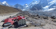Zooming out aerial view of Gorakshep, settlement of the Sherpa people. Himalaya Stock Footage