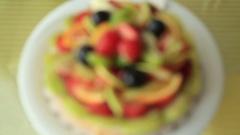 Tart pie jellied fresh fruits 2 Stock Footage