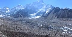 Aerial view of Gorakshep, Khumbu Ice Fall, Chomolungma, Nuptse. Himalaya, Nepal Stock Footage