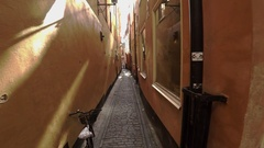 Ancient narrow street in central Stockholm. Old town. 4K. Stock Footage